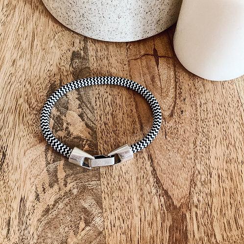 Bracelet Homme - Chevrons noir/blanc