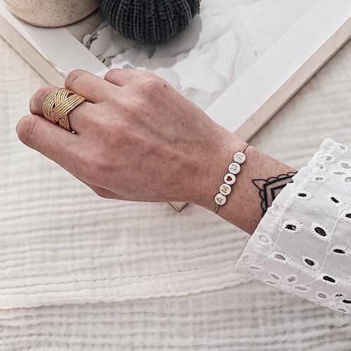 Bracelet Amour/coeur rouge - Doré