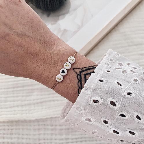 Bracelet Love/coeur noir - Doré