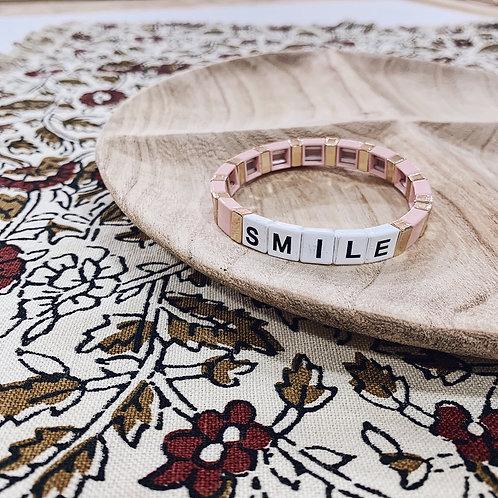 Bracelet WORD - Smile rose/doré