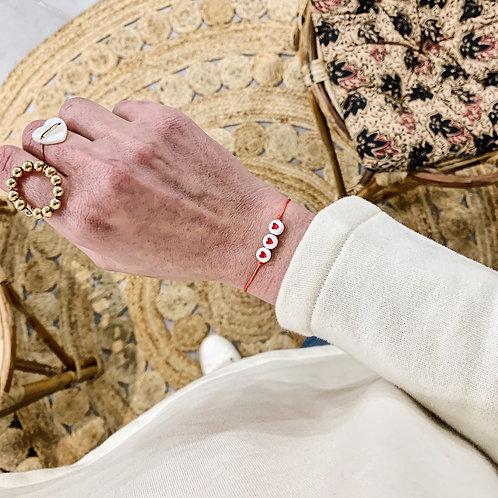 Bracelet 3 coeurs - Rouge/corail
