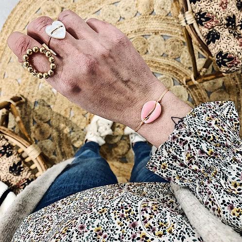 Bracelet Cauri - Rose clair/pêche
