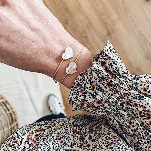 Bracelet coeur - Nacre blanche