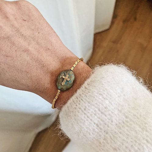 Bracelet Maria - Doré/vert