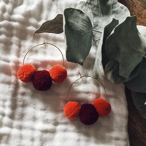 Boucles Boho - Bordeaux & orange