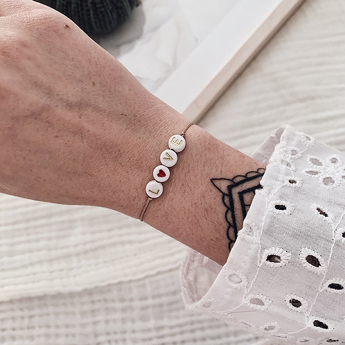 Bracelet Love/coeur rouge - Doré