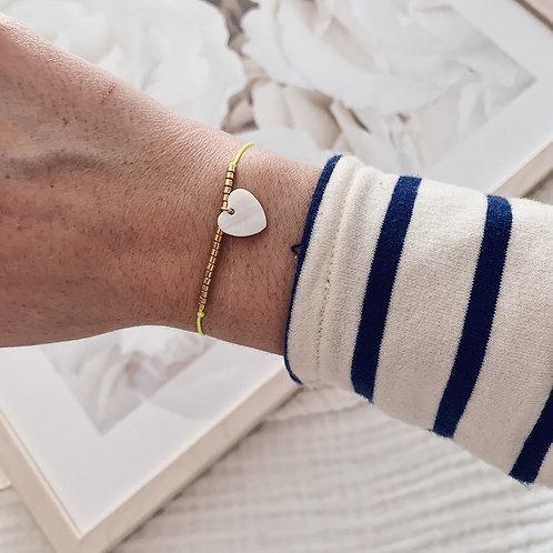 Bracelet Coeur - Jaune fluo