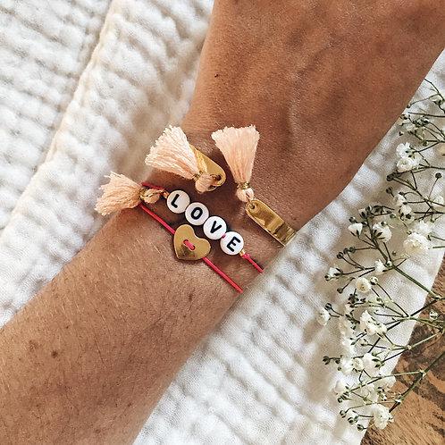 Trio bracelets Coeur, Lettres et jonc