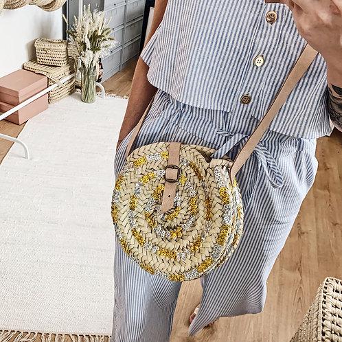 Panier Ibiza avec anse - Sequins dorés et argentés