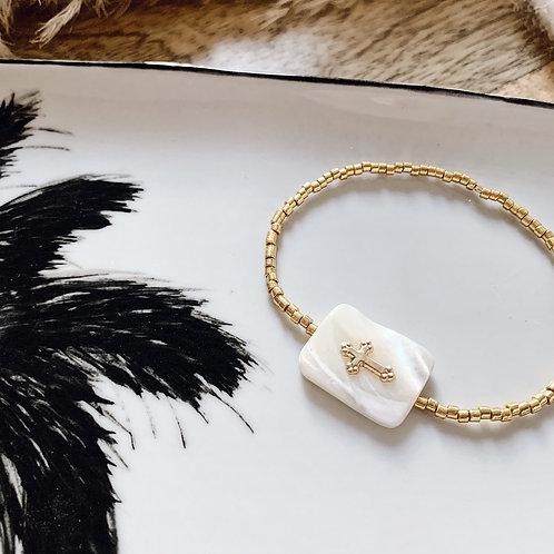 Bracelet Maria - Doré/nacre blanche