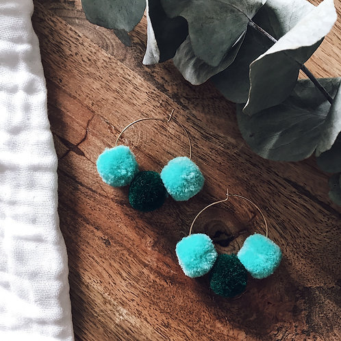 Boucles Boho - Vert & turquoise