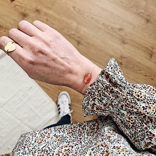 Bracelet cordon - Perle rose