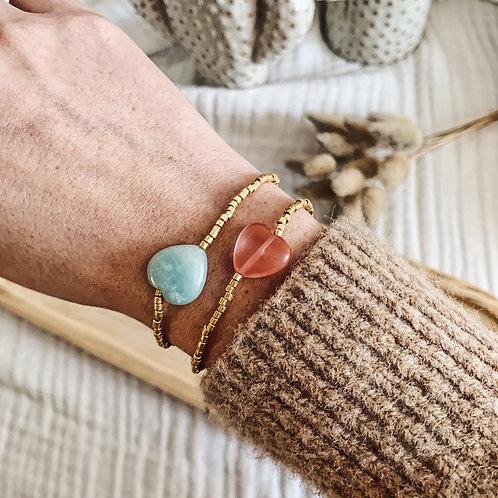 Bracelet Love - Doré / Amazonite