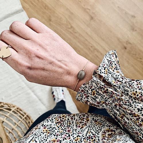 Bracelet cordon - Agate grise
