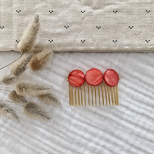 Peigne avec perles rondes - Corail