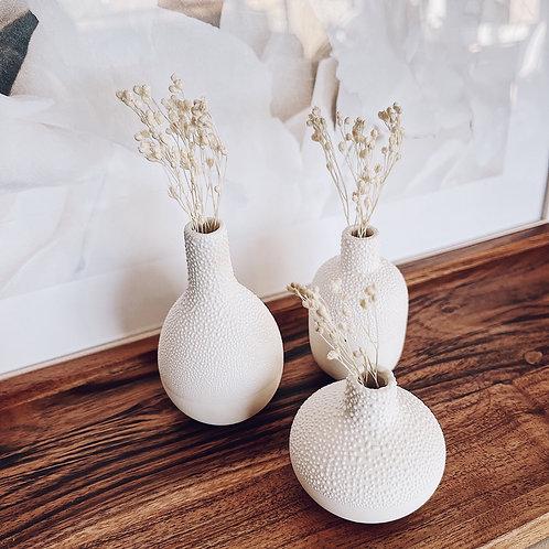 Trio de minis vases perlés