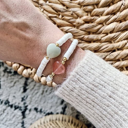 Bracelet Heishi - Coeur vert ou rose