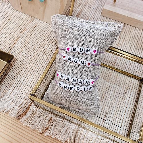 Bracelet Mum - Coeurs roses