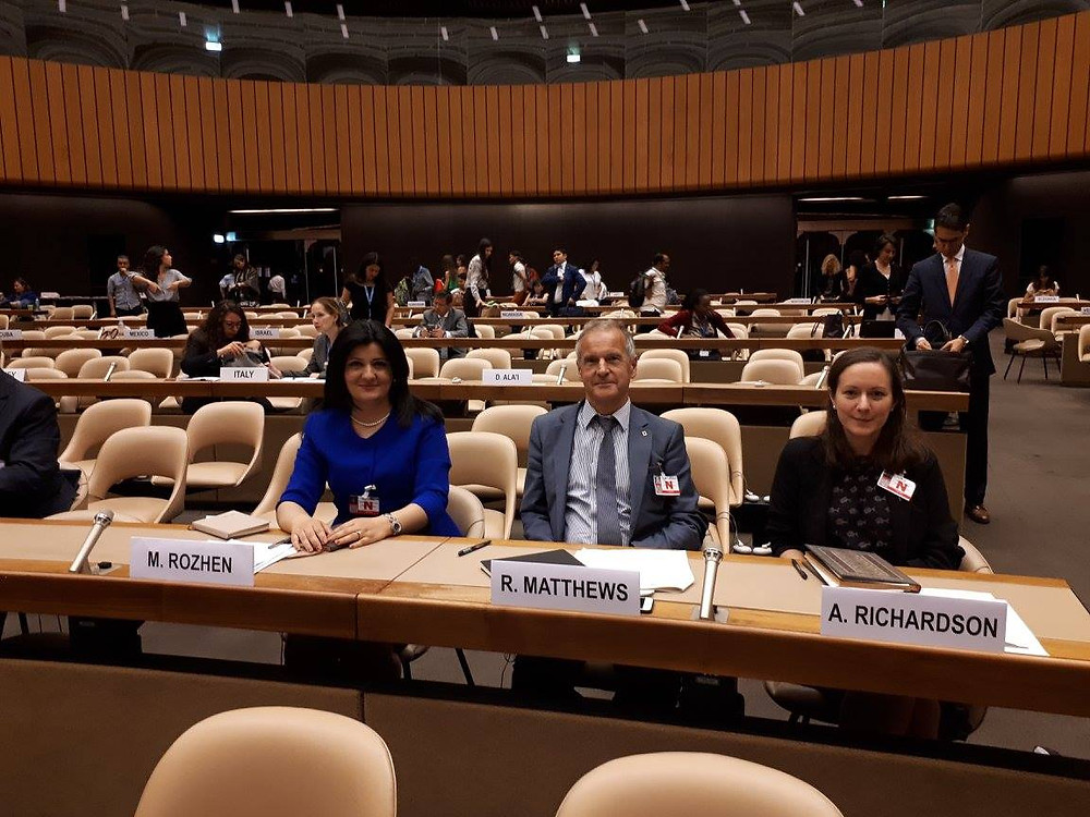 RASHID President Prof Roger Matthews, Secretary Dr Rozhen Mohammed-Amin, and Dr Amy Richardson at the UN Intersessional seminar on cultural rights and the protection of cultural heritage, celebrated on 7 July 2017.