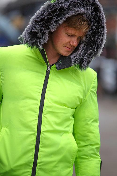 Winter coat Double side raincoat double color Jacket green black D16