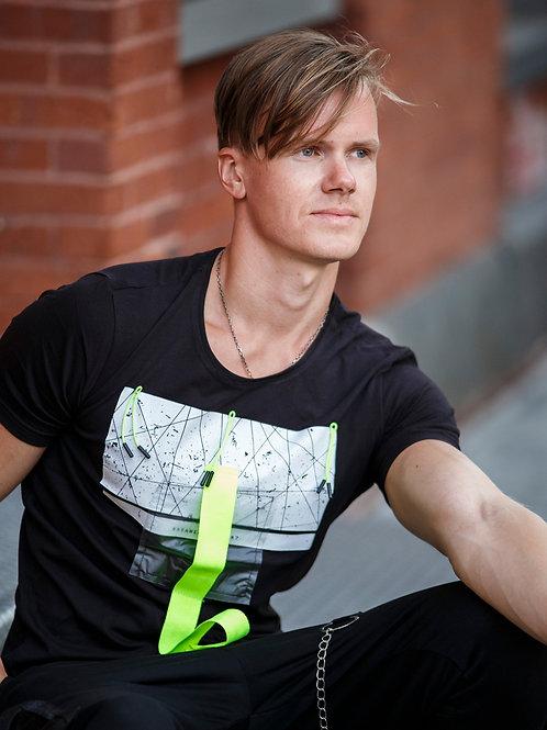 U 35 Unisex Men Women  street fashion glow strap black T-shirt