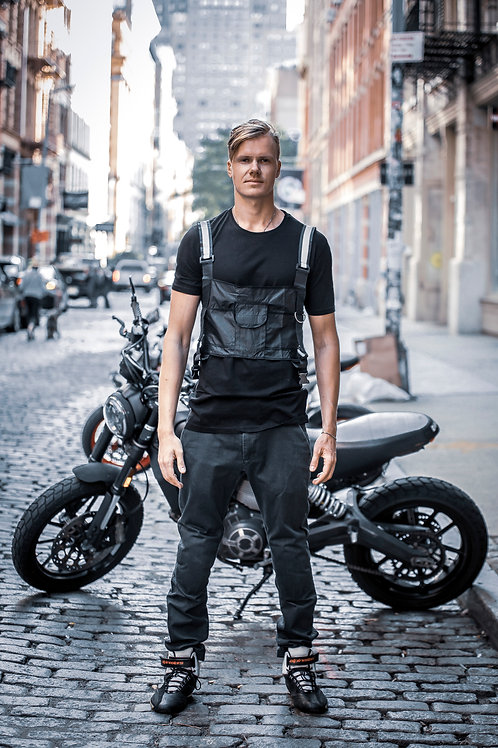 U 13 Men Tactical Vest style street fashion modern design Black T-shirt