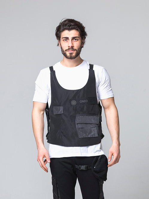 Syno T57 Tactical Vest  design Hip-Hop Dance street style White T-shirt