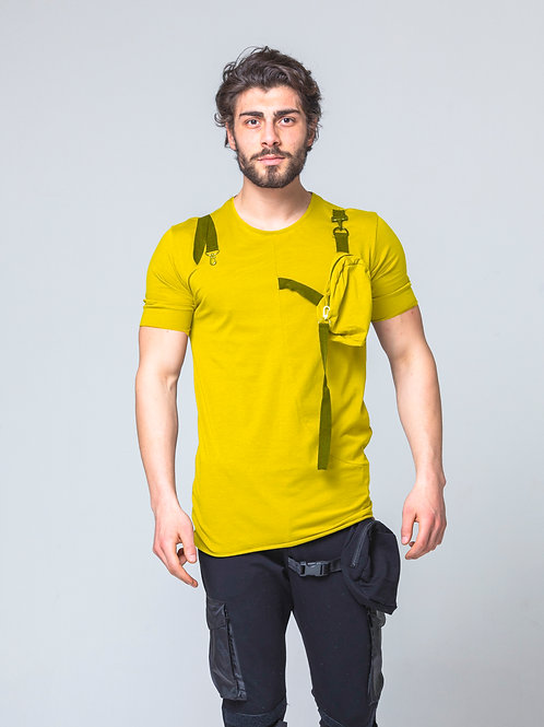 Syn-o T45 chest pocket design Hip-Hop Street fashion dancer mustard T-shirt