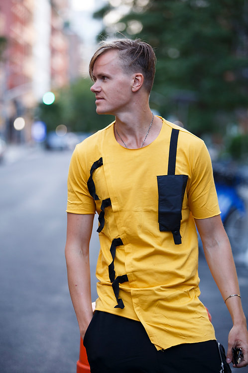 U 48 Unisex Men Women  street fashion strap pocket yellow  T-shirt