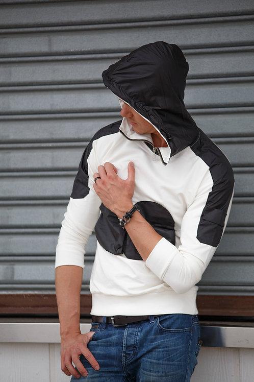 Chest design Men Pullover Hoodie sweater White D05