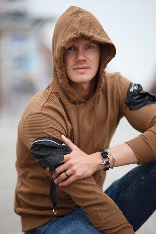 Arm design Men Pullover Hoodie sweater Brown D04