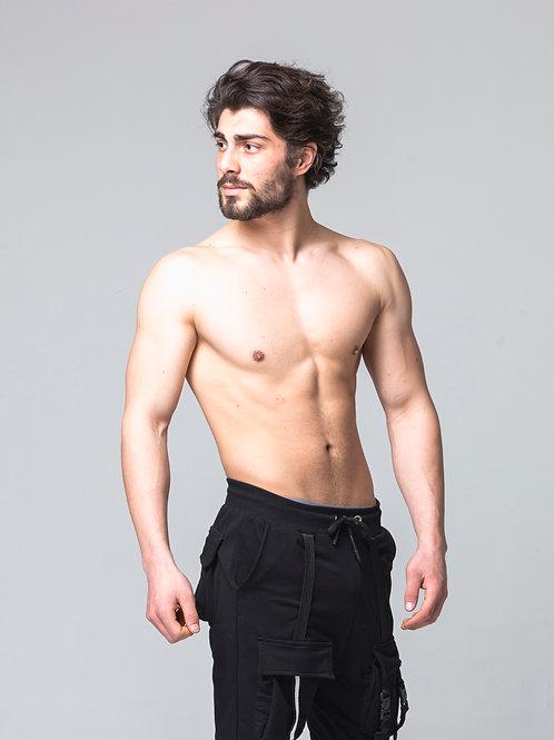 Syn-o Jogger Hip Hop Dance Cargo Baggy Black Pant