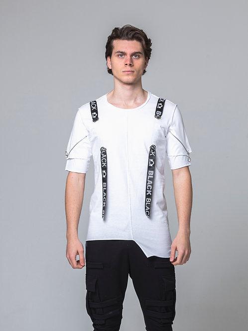 Syn-o T04 Shoulder design strap Hip-Hop street fashion style T-shirt