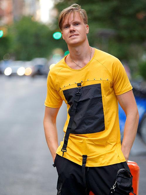 U 42 Unisex Men Women  street fashion black strap design T-shirt