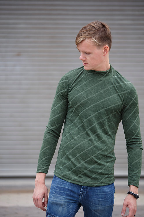 Men style high necked Pullover sweater pattern design green D08