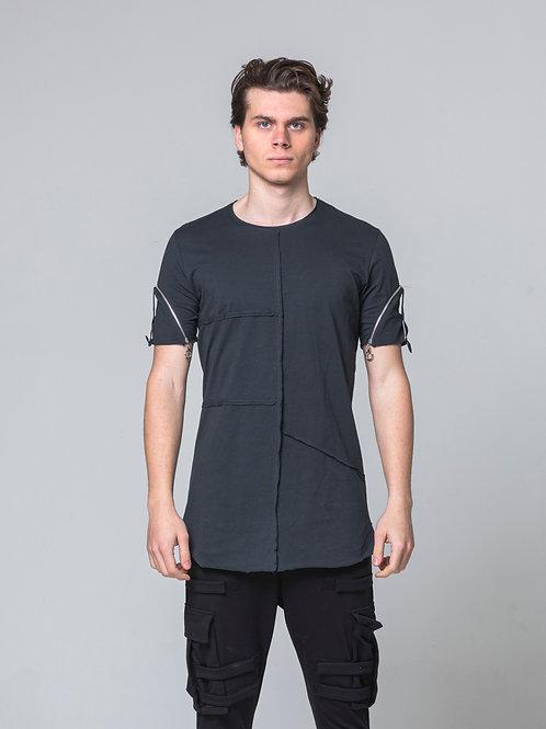Syn-o T36 Shoulder zip Hip Hop street fashion style design Black T-shirt