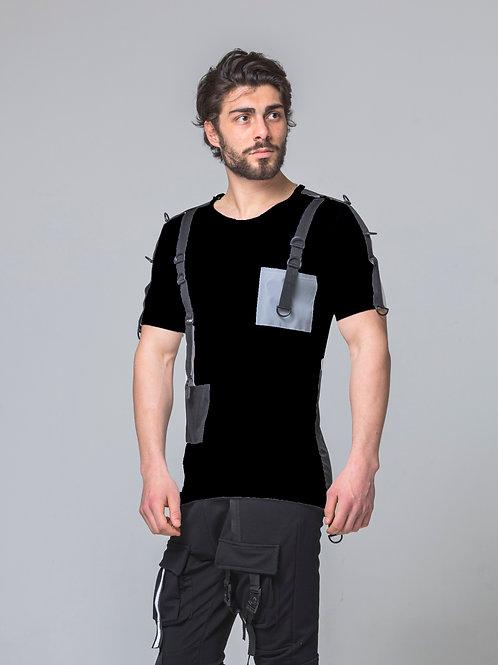 Syn-o T48 Chest Design Pocket Hip-Hop Dancer style Black T-shirt