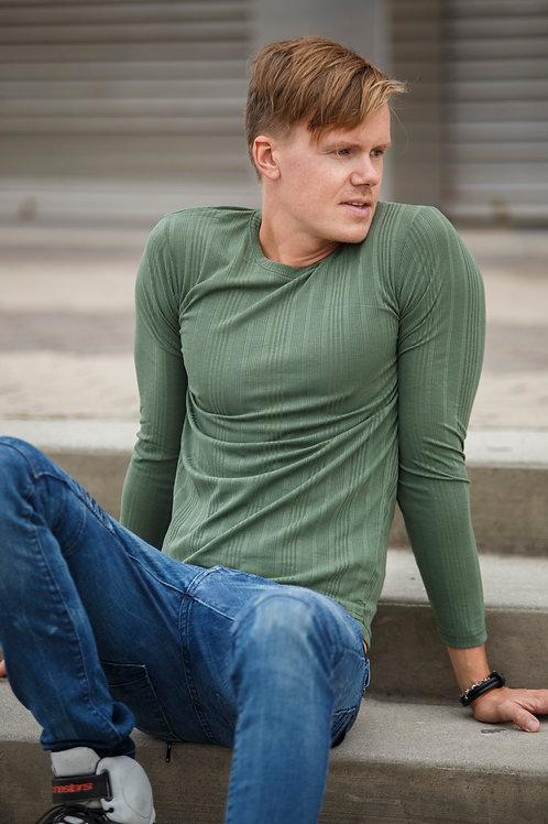 U Neck Men Pullover sweater green D07