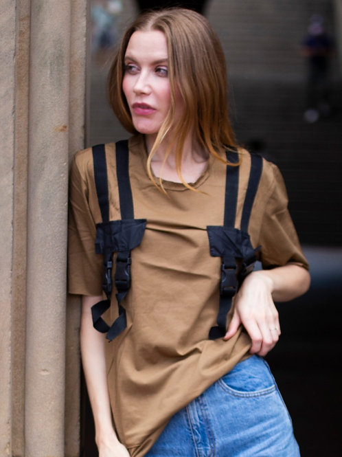 U 30 Unisex Men Women tactical type modern design brown graphic T-shirt