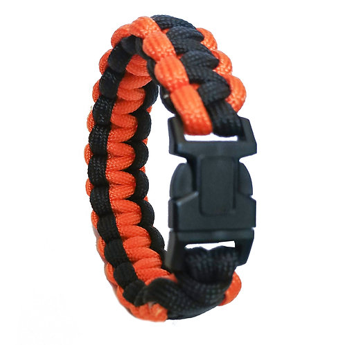 "9"" Army Type Orange-Black Fiber Bracelet Strap with Plastic Buck"