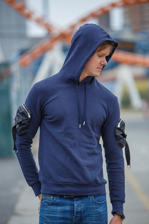 Arm design Men Pullover Hoodie sweater Navy D02
