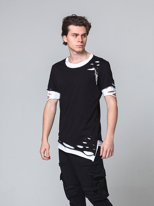 Syn-o T39 Double design Hip Hop Street fashion style Black T-shirt