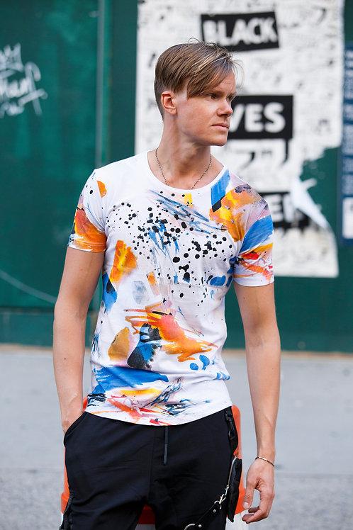 U 38 Unisex Men Women  street fashion white graphic T-shirt