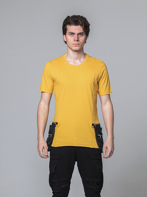 Syn-o T51 side pockets Hip-Hop Street dance fashion style yellow T-shirt