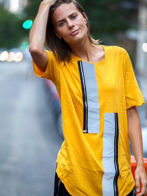 U 44 Unisex Men Women  street fashion yellow zip design T-shirt