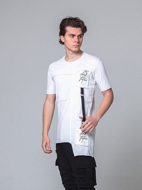 Syn-o T54 pocket Strap design Hip Hop street Dance style white T-shirt