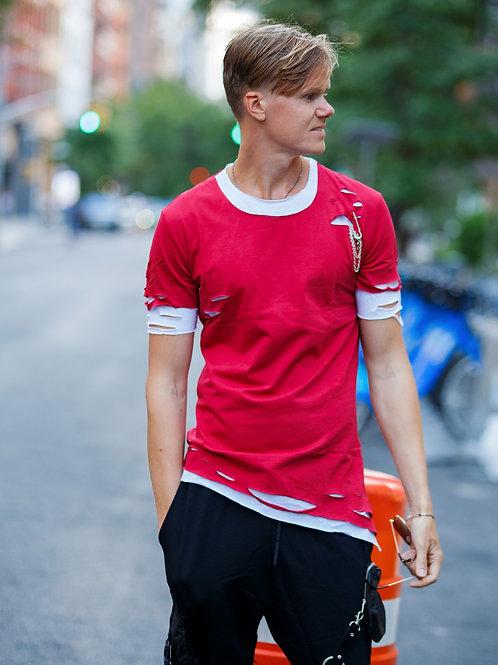 U 46 Unisex Men Women  street fashion double layer red  T-shirt