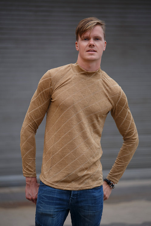 Men style high necked Pullover sweater pattern golden D10
