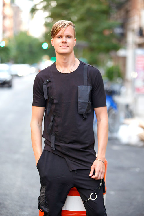 U 41 Unisex Men Women  street fashion black strap design T-shirt