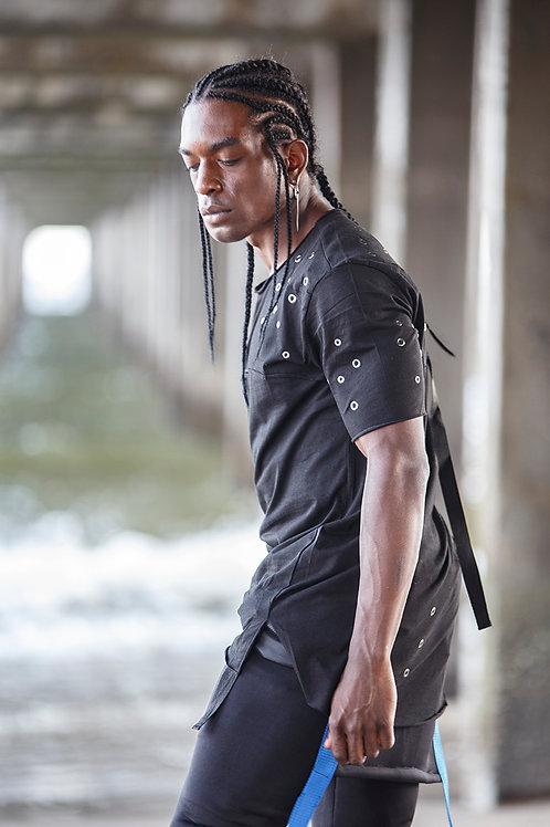 Z 22 Unisex Men Women  street fashion strap design black T-shirt